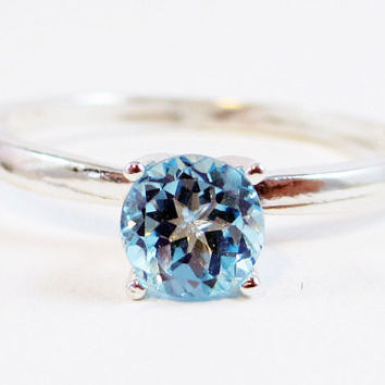 Sky Blue Topaz Solitaire Ring Sterling Silver, December Birthstone Ring, Topaz Solitaire Ring, 925 Blue Topaz Ring, Sterling Sky Topaz Ring
