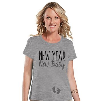 New Years Pregnancy Shirt - New Year New Baby Shirt - New Years Tee - Grey T Shirt - Grey Tee - New Baby Reveal - Pregnancy Announcement