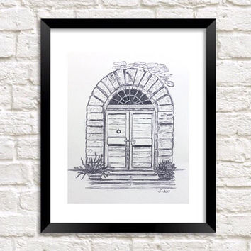 Pencil drawing, Door graphite sketch, Print of Original drawing, Travel art, Europe art, Architectural Black and white