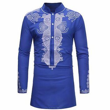 Royal Blue and Silver Mens Hipster African Dashiki Longline Shirt
