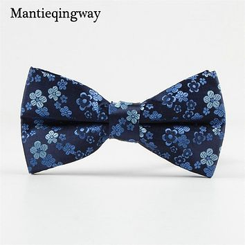 Floral Printed Bowtie For Wedding Groom Bow Tie Cravat Slim Men's Polyester Bow Ties Commercial Bowknot Tie