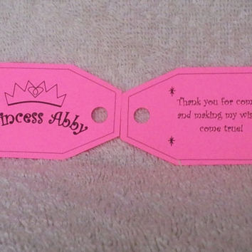 Personalized Princess Party Favor Tags (Birthday, Baby Shower)