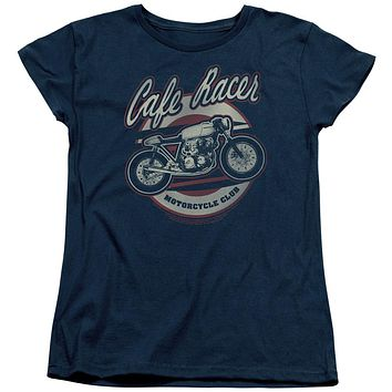 Honda Womens T-Shirt Cafe Racer Motorcycle Club Navy Tee