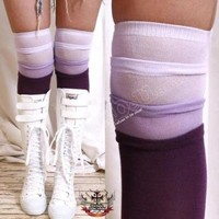 Thigh Knee Tiered PURPLE+Eggplan Gradient Stocking Sock