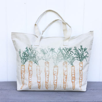 Large zipper tote, overnight bag, Tote bag, farmers market, carrots, reusable grocery bag, mothers day gift, gift for her, block print bag