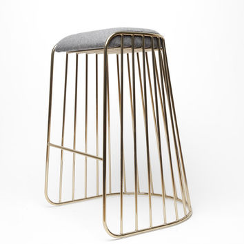 Totokaelo - Phase Smoked Brass/Grey Bride's Veil Bar Stool - $1,398.00