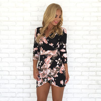 Romantic Roses Wrap Dress in Black