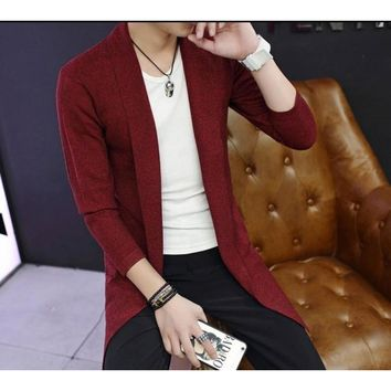 Mens Mid Length Shawl Collar Cardigan in Red