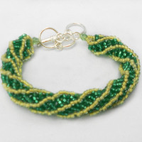 Spiral Beaded Bracelet - Green and Yellow - Green Bay Packers Colors - Women's Jewelry - Beaded Handmade Bracelet