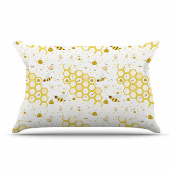 "Stephanie Vaeth ""Honey Bees"" White Yellow Pillow Case"