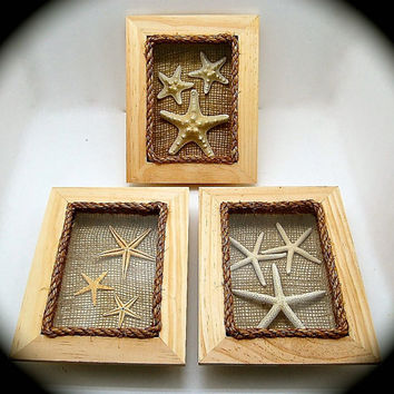 "Handmade Starfish Beach Decor - White Starfish Tan Flat Starfish and Knobby Starfish Shadow Box- 9.25"" by 7.25"" Classy Nautical Decor"