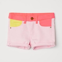 Short Twill Shorts - Light pink/color-block - Kids | H&M US