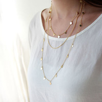 Layered necklace with tiny hearts, Multi chain necklace, 24k gold plated, Unique jewelry, Heart necklace,  Valentines day gift