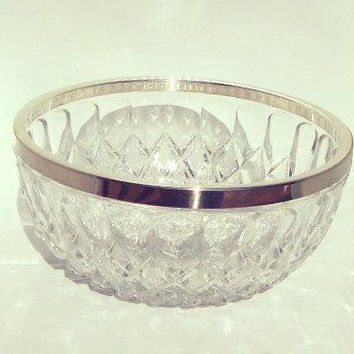 Clear,Cut, Etched, Pressed, Glass, Crystal Serving Bowl With Silver Plated Edge. Wedding Floral Centerpiece Bowl, Mid Century