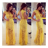 Sexy Women Backless Lace Prom Ball Cocktail Party Dress Evening Gown Maxi Long Dress