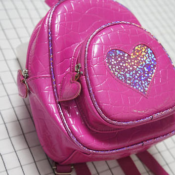90's Mini Backpack, Holographic Bubble Gum Pink Heart Backpack, 90s Club Kid, Rave, small backpacks, Cyber Angel, Clueless, Tumblr