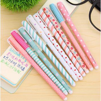 10 PCS/pack High Quality 0.38mm Gel Pens Cute Korean School&Office Supplies Hot Sale Stationery Store Lovely Floral Sign Pens