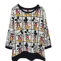 Cartoon Printed Grid Long Sleeves Loose Top