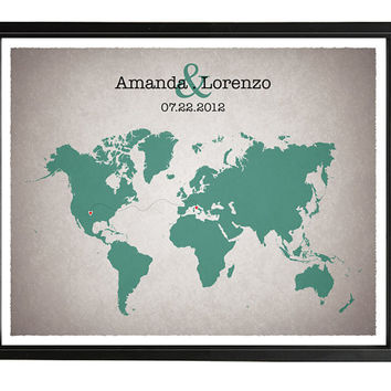 Custom Long Distance Relationship Quote Poster Map, anniversary gift, 8x10 in or A4
