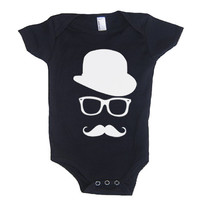 MUSTACHE WAYFARER Hat Baby Onesuit Girl Bodysuit - American Apparel - 3-6m, 6-12m, 12-18m, 18-24m, (7 Color Options)