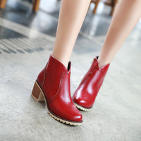 Retro Ankle Boots High Heels Motorcycle Boots Chunky Heel 4937