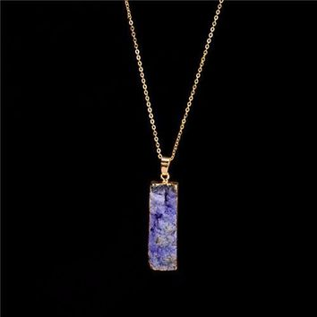 100% Natural Stone Pendant Necklace ~Amethyst Stone Charms purple