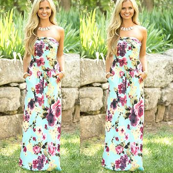 Sexy ladies dress strapless sleeveless long dress 2018 New Arrival summer beach flower print maxi women sundresses