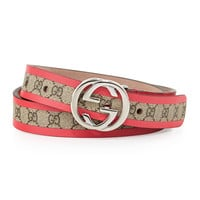 Girls' GG Leather-Trimmed Belt, Beige/Magenta - Gucci - Beige/Magenta