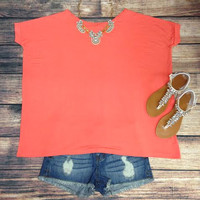 SHORT SLEEVE PIKO IN DARK PEACH