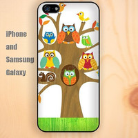 tree owl life bird colorful iphone 6 6 plus iPhone 5 5S 5C case Samsung S3,S4,S5 case Ipod Silicone plastic Phone cover Waterproof