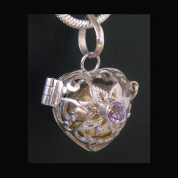 Superb Harmony Ball Heart Shape with Amethyst Gemstone on a 925 Sterling Silver Cage with Brass Chime Ball | Bola Necklace, Angel Caller 281