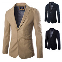 Two Button Urban Men's Fashion Slim Blazer