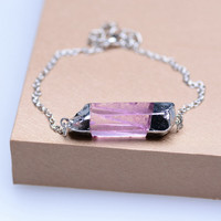 Rhodium Plated Druzy Natural Stone Bracelet Handmade Jewelry Irregular Amethyst Wedding Pink Crystal Bangle For Women