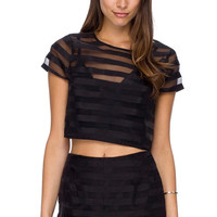 Black Striped Lace Crop Top