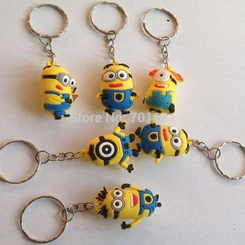 ESBDZ2 EPACK  free 40pcs 3.5cm pvc minion Keys Chain Kids 3D Despicable Me Minions Action Figure Keychain Keyring mixed 6 designs R