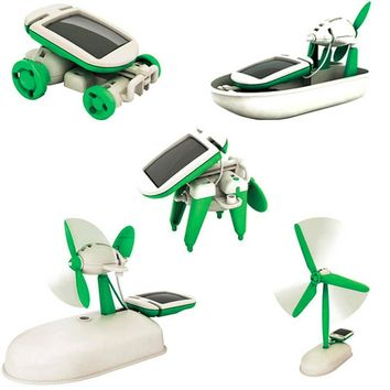 6 in 1 Solar Toy Kit - Boat, Fan, Car, Robot, Windmill, Puppy