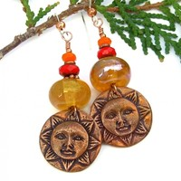 Sun Face Earrings, Amber Yellow Lampwork Red Orange Handmade Jewelry for Women