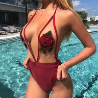 8dess Rose Embroidery Sexy Gauze One Piece Swimwear Bikini Swimsuit
