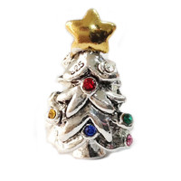 NEW Free Shipping 1PC Silver Plated Beads Charm European Silver Christmas Crystal Tree Bead Fit Pandora Bracelets & Bangles H394