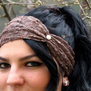 Brown Lace Headband With Pearl Button / Wide Lace Black Headband Shadow Black Stretch Lace Head Wrap Stretchy Bohemian Headband