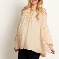 Beige-Button-Front-Top