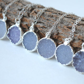 Silver Druzy Necklace, Round Druzy Necklace, Silver Drusy Jewelry