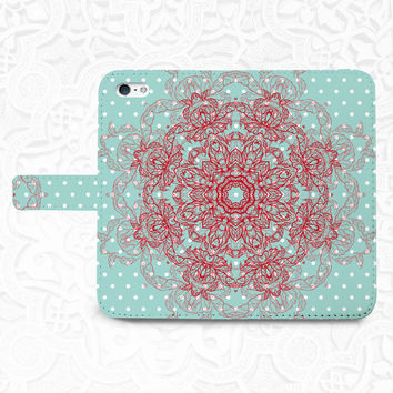 Mandala iPhone/smartphone flip leather Wallet case for iPhone 6, 6 plus, 5, 5s, 5c, iPhone 4, 4s- Samsung GalaxyS5 S4 S3, Note 3, 4