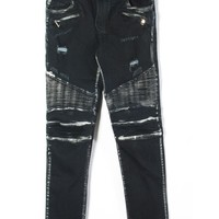 Indie Designs Custom Made Balmain Waxed Biker Denim Jeans