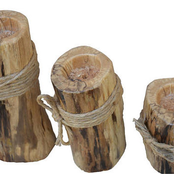 Wooden tealight candle holder set wood tealight candle holder triple set reclaimed driftwood wood wooden candle tealight holders centerpiece