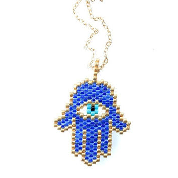 Seed Bead, blue necklace, Hamsa Hand Necklace, evil eye, Eye necklace, miyuki necklace, hamsa hand miyuki, navy blue, gifts for her, gifts