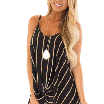 Black and Marigold Stripe Sleeveless Top with Twist Detail