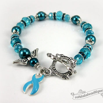 Ovarian Cancer bracelet awareness jewelry Guardian Angel bracelet hope bracelet cancer awareness teal ribbon bracelet cancer jewelry