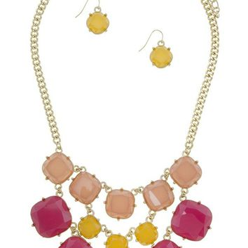 Three color layered faux stone statement necklace set