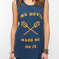 Feather Hearts Devil Made Me Muscle Tee